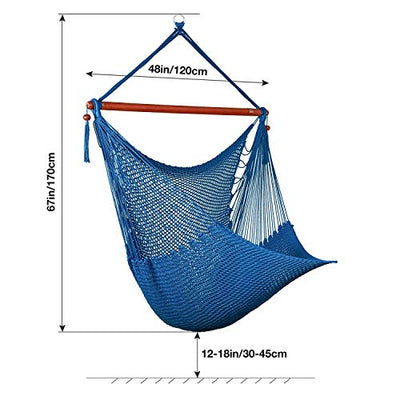 Greenstell Large Caribbean Hammock Hanging Chair with Swing Swivel and Hanging Kits,Frictionless 360° Rotation,Swing Chair 100% Soft-Spun Polyester,for Indoor,Outdoor,Home,Patio,Garden 48 Inch (Blue)