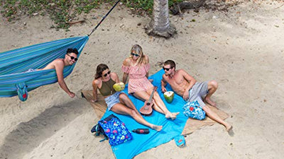 Grand Trunk Beach Blanket or Picnic Blanket with Patented Sand Anchor Pockets, Stake Loops and Attached Stuff Sack - Best Outdoor Blanket for Travel, Pink Flare