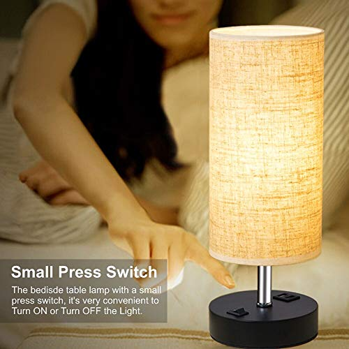 Dual USB Charging Port Bedside Table Lamp with Press Switch: 2 Pack