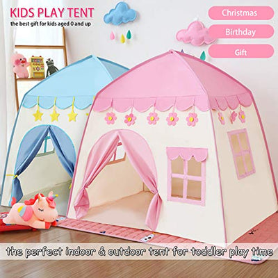 princess castle play tent Kids Teepee Tent Large Children Playhouse 600D Oxford Fabric Children Playhouse for Indoor Outdoor with Carry Bag Portable Playhouse Boys & Girls Birthday Gift (flower pink)