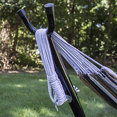 Double Hammock Two Person Adjustable Hammock Bed with Space Saving Steel Stand