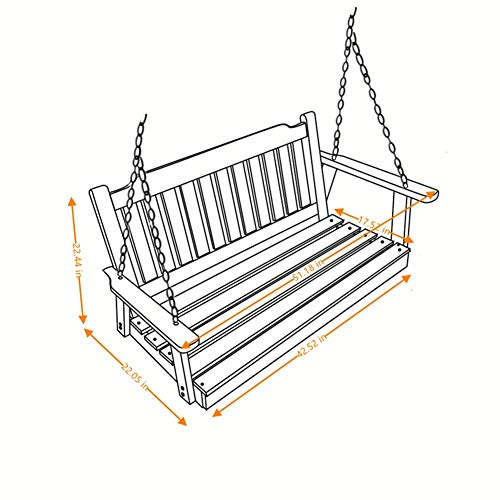 Heavy Duty Front Porch Swing Seat with Hanging Chains, White