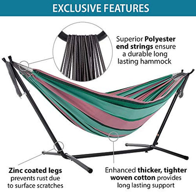 Vivere with Space Saving Steel Stand 9ft Double Cotton Hammock: Watermelon