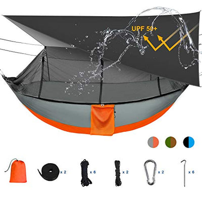Camping Hammock Tent and Accessories, with Bug Net and Rainfly Cover