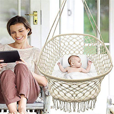 "DYHQQ Baby Crib Cradle, Hanging Bassinet and Portable Swing for Baby Nursery, Macramé Rope Fringe Measures 35"" L X 23.25"" W X 14"" H, Weight Capacity 22 pounds (Off White)"