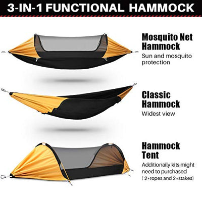 Lay Flat Hammock Double & Single Camping Hammock with Mosquito Net