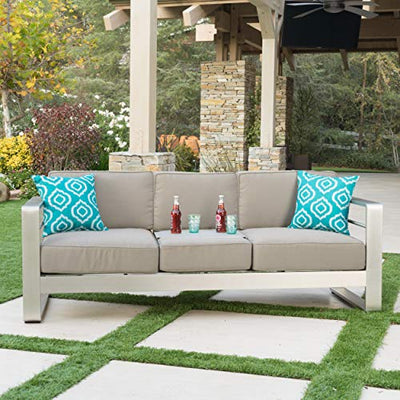 Christopher Knight Home Cape Coral Outdoor Loveseat Sofa with Tray, Khaki