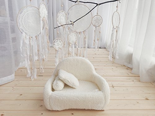 BOHO Handmade White Feather Native Macrame Dream Catchers: 4 PCS