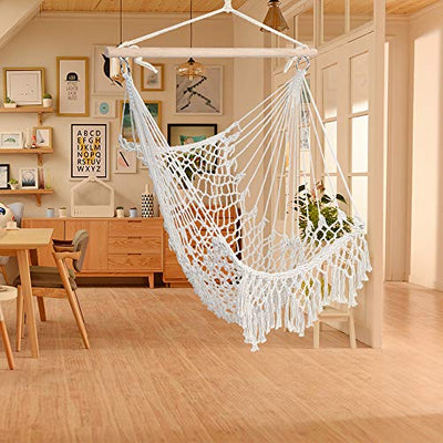 Hug Hammock Swing Chair Hanging Rope Swing Seat with Tassel