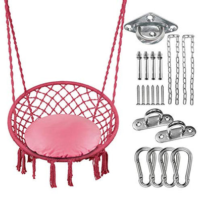 Greenstell Hammock Chair Macrame Swing with Cushion and Hanging Hardware Kits, Max 290 Lbs Hanging Cotton Rope Swing Chair, Comfortable Hanging Chairs for Indoor, Outdoor, Home, Patio, Yard (Pink)