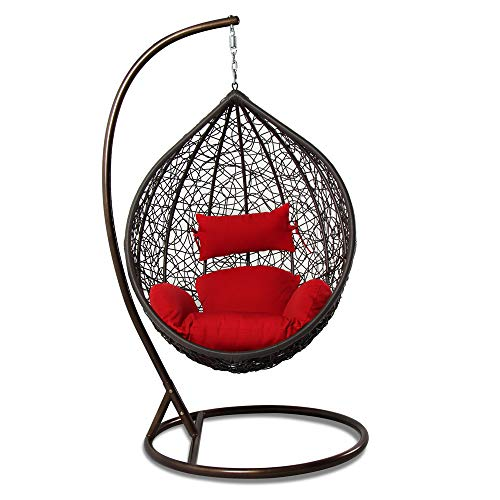 Island Gale Brown Wicker Hanging Basket Chair: Red
