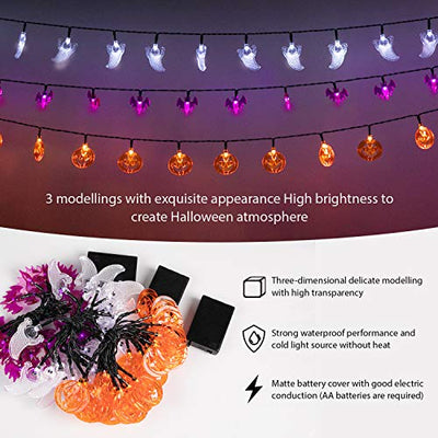 Minetom Set of 3 Halloween String Lights, Battery Powered 30 LED Halloween Lights of Orange Pumpkins, Purple Bats and White Ghosts for Outdoor & Indoor Halloween Party Decorations