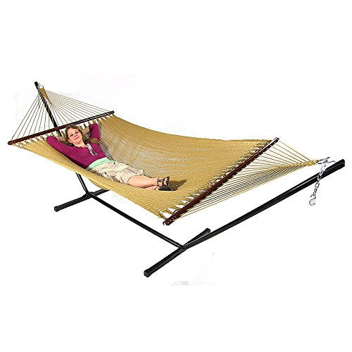 Soft Spun Polyester Rope Hammock With Spreader Bars 9