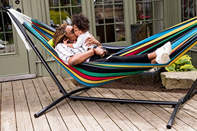 Vivere Double Hammock with Space-Saving Steel Stand, Rio Night