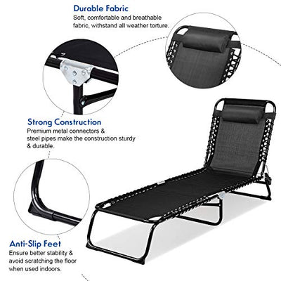 Goplus Portable Lounge Chair for Outdoor Patio Yard Pool