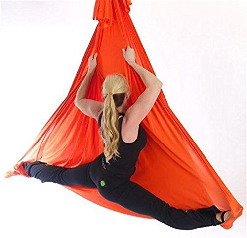 Dasking 5m Premium Aerial Silks Equipment Aerial Yoga Hammock Set (Orange)