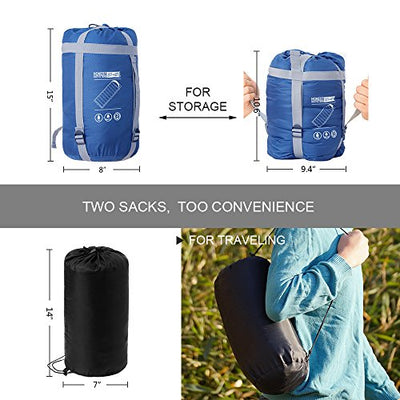Honest Outfitters Sleeping Bag with Compression Sack, Envelope Portable and Lightweight for 3-4 Season Camping, Hiking, Traveling, Backpacking and Outdoor Activities Navy Blue (Single)