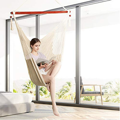 Caribbean Hammock Chair with Swing Swivel and Hanging Kits: Mocha