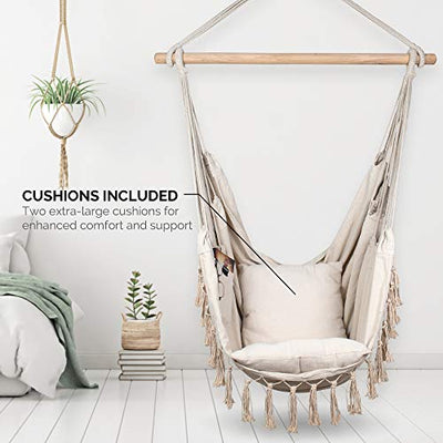 Komorebi Hammock Chair | Hanging Rope Swing Seat for Indoor & Outdoor: Ivory