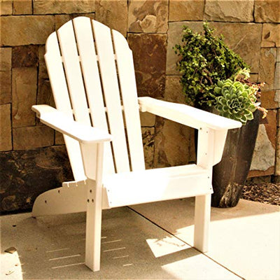 ResinTEAK HDPE Poly Lumber Adirondack Chair, White | Adult-Size, Weather Resistant for Patio Deck Garden, Backyard & Lawn Furniture | Easy Maintenance & Classic Adirondack Chair Design