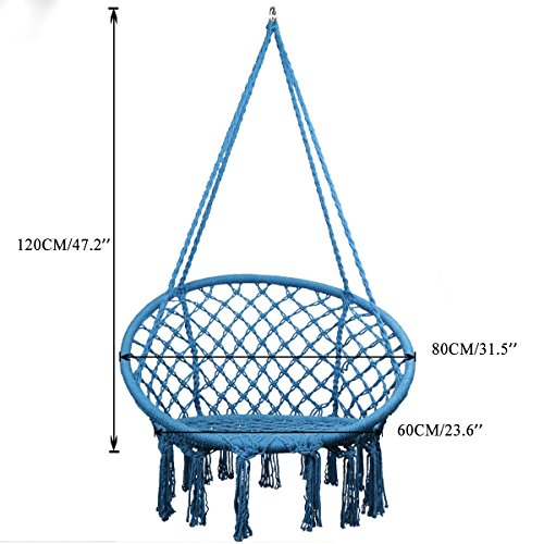 Topway Macrame Swing Hammock Chair: Blue