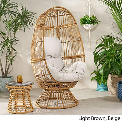 Christopher Knight Home 311450 Ellen Outdoor Wicker Swivel Egg Chair with Cushion, Light Brown, Beige