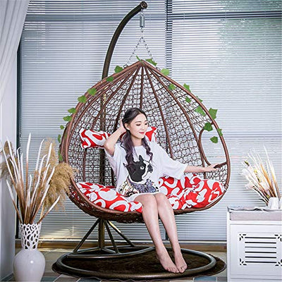 Rattan Hanging Egg Swing Chair with Cushions and Brackets