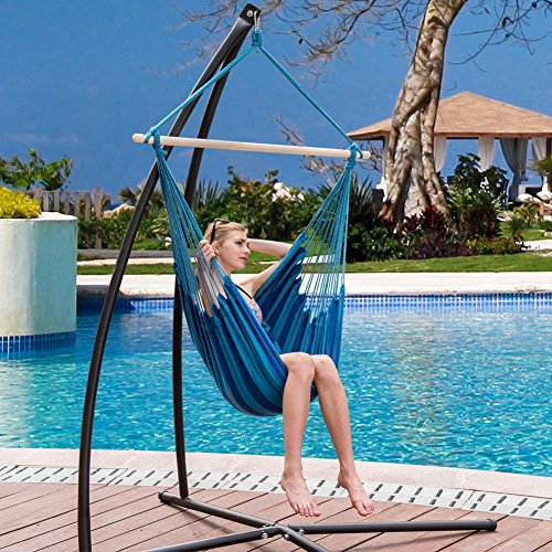 Charmant Sundale Outdoor Canvas Hanging Hammock Swing Chair Seat With Wood Spreader  Bar And 2 Cushions (