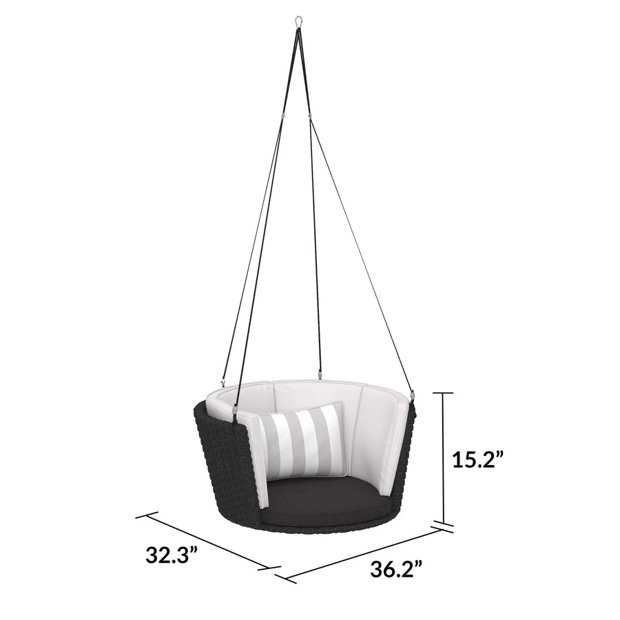 Novogratz 87059BWG1E Poolside Gossip Collection, Sally Patio Hanging, Gray Striped Cushion, Black Wicker Swing, Light