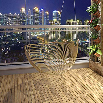 ZHAOHAOJIE Hammock Chairs,Hanging Chairs for Bedrooms,Safe and Stable, Bearing About 200kg, Adjustable Angle, Suitable for Leisure Balcony, Study Room, Etc. (Gold, Silver)