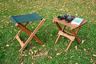 Byer of Maine Pangean Folding Stool, Hardwood Keruing Wood, Hand-Dipped Oil Finish, Easy to Fold and Carry, Perfect for Camping and Tailgating, Matches All Furniture in the Pangean Line