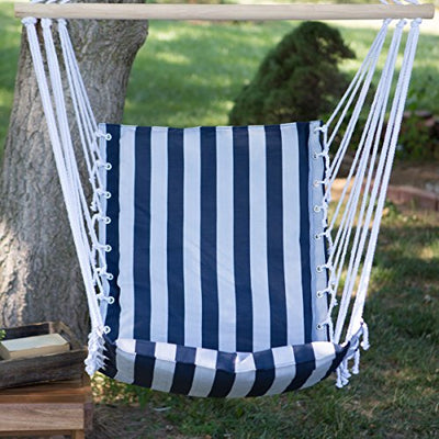 The Ultimate Padded Mesh Hanging Chair / Hammock - Navy Stripes with Durable Wood Spreader Bar and Hanging Ring