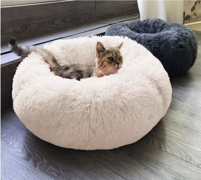 BinetGo Dog Bed Cat Bed Cushion Bed Faux Fur Donut Cuddler