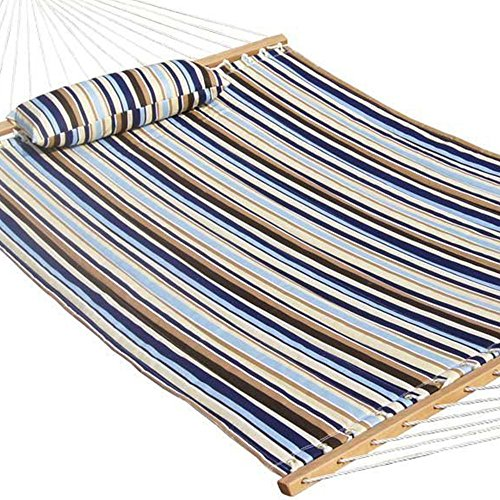 Quilted Double Fabric Hammock + Hardwood Spreader Bars with Pillow