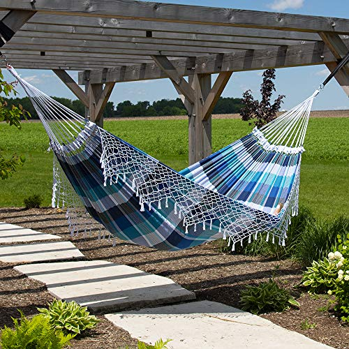 Vivere Authentic Brazilian Tropical Double Hammock (450 lb Capacity) (Marina)