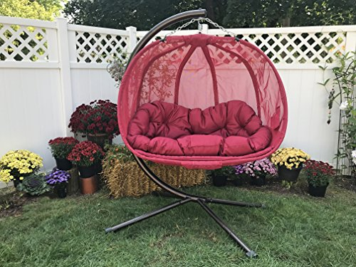 Flower House Hanging Pumpkin Loveseat Chair with Stand: Red