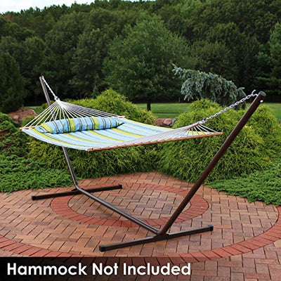 Sunnydaze 15 Foot Hammock Stand with Heavy-Duty Steel Beam Construction - Large 2 Person Hammock Stand - 400-Pound Capacity - Bronze