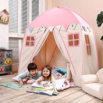 Fort Canvas Canopy Tent for Kids with with Carry Bag: Pink
