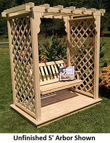Backyard Crafts Amish-Made Covington Style Pine Arbor with Deck & Swing