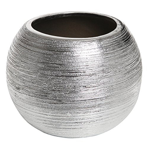 Round Metallic Silver Tone Ridged Ceramic Plant Pot