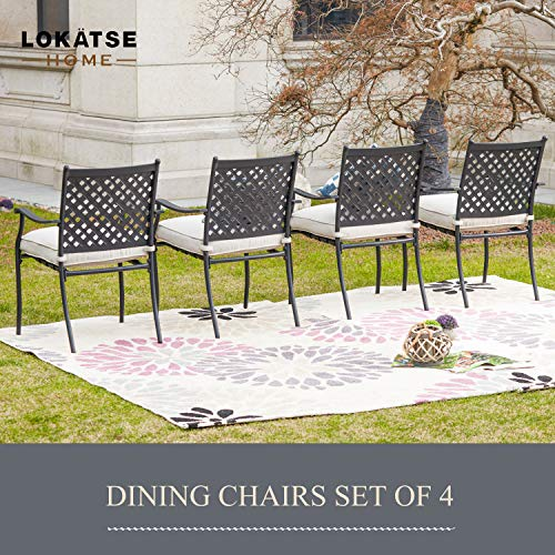 Outdoor Wrought Iron Dining Chairs Set of 4