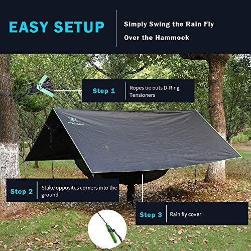 Hammock Rain Fly - Waterproof Tent Trap Camping Backpacking Survival Shelter