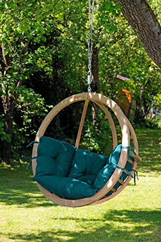 "Byer of Maine Globo Chair by, Treated Wood Construction, Indoors and Outdoors, Natural Spruce Wood, Agora Outdoor Fabric Cushion, Single Person, Green Agora, 48"" L X 30"" D X 48"" H, Holds Up To 260lbs"