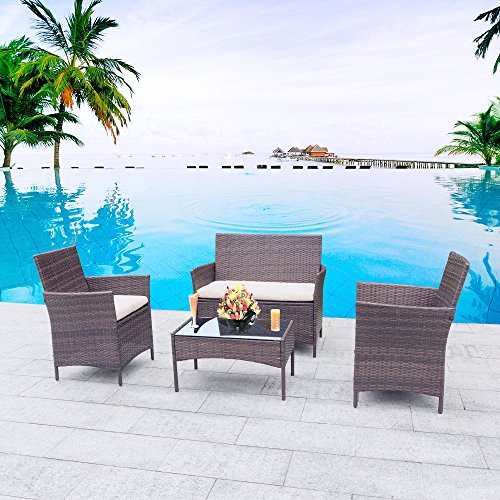 Homall 4 Pieces Outdoor Patio Furniture Sets Clearance Rattan Chair Wicker  Set,Outdoor/Indoor