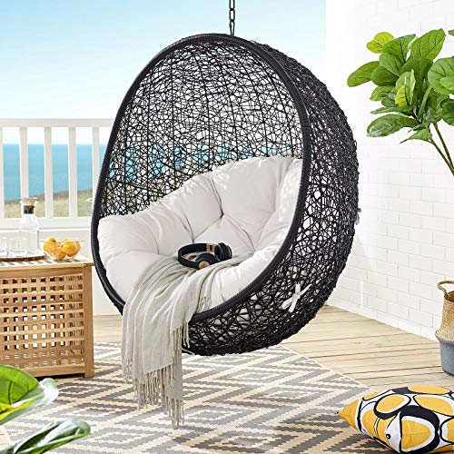 Modway Encase Outdoor Patio Lounge Chair Without Stand, Black White