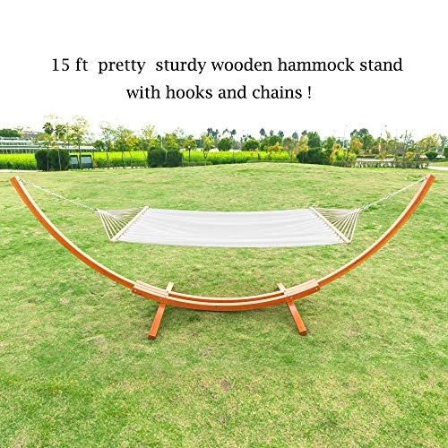 OnCloud 15 ft Wooden Arc Hammock Stand Chains Hooks