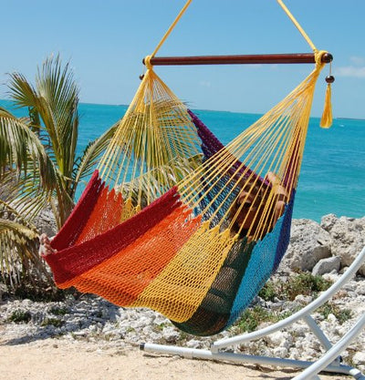 Caribbean Hammocks Large 48-Inch Polyester Hammock Chair, Rainbow