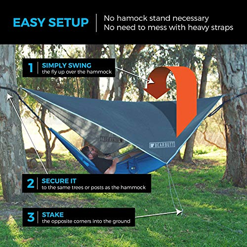 Bear Butt Rain Fly Easy Set Up Portable Hammock Tarp Shelter : Gray