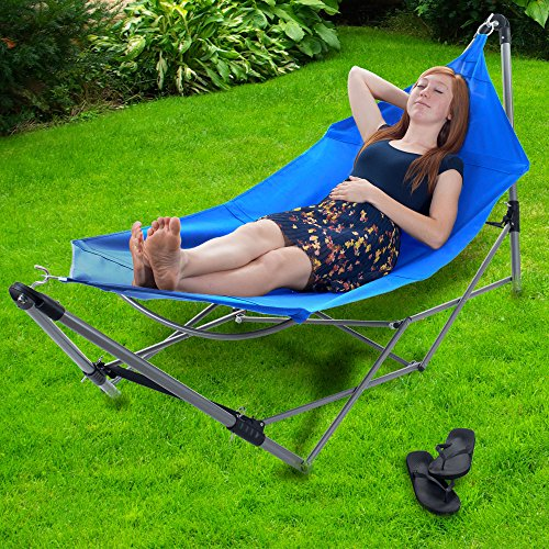 Pure Garden Portable Hammock with Stand-Folds and Fits