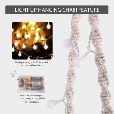 VIVOHOME Hanging Macrame Hammock Chair with Lights